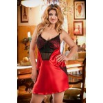 plus size-042  Frida  Red Satin Chemise with Cute Pockets S-6XL Babydolls-Nine X